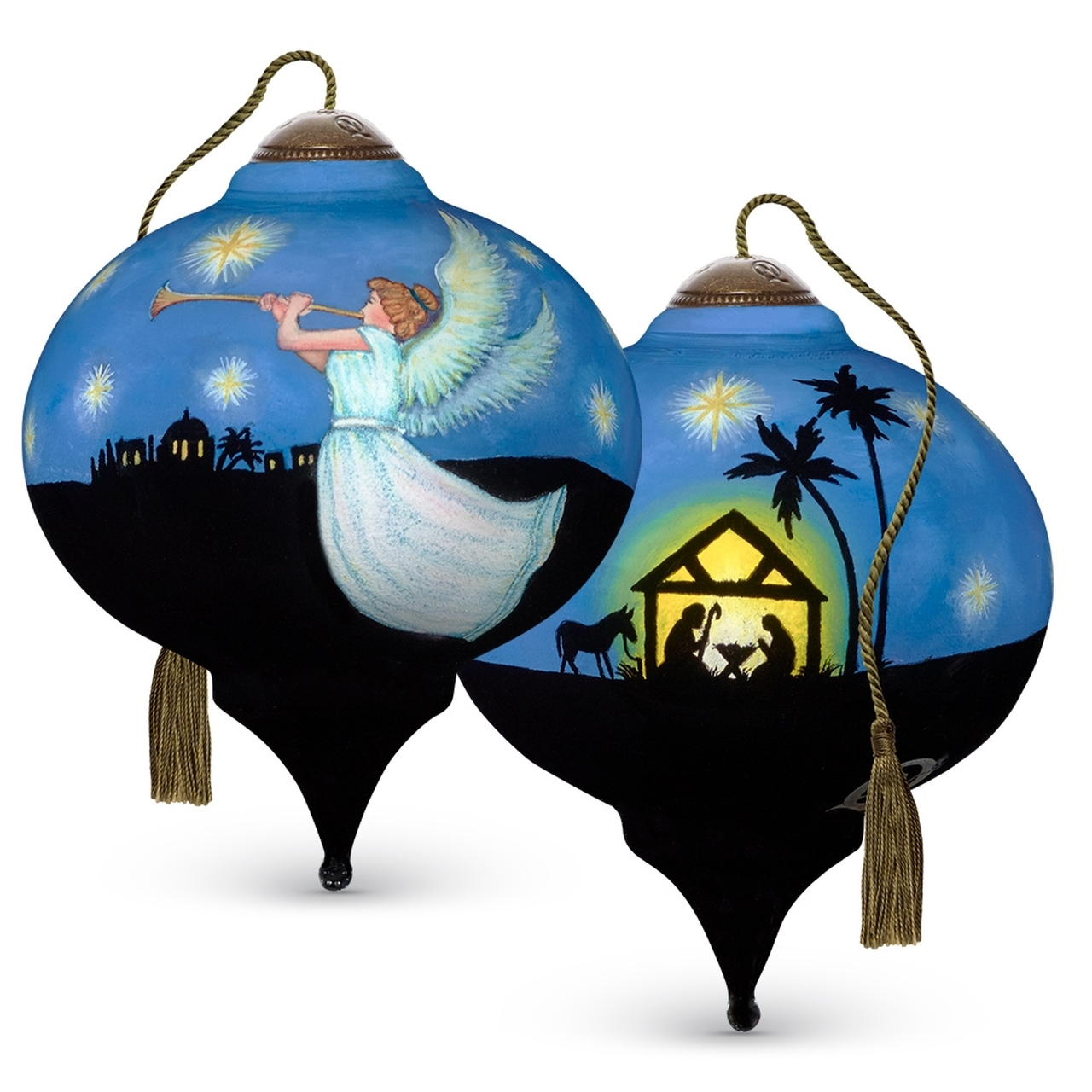 NeQwa Art Hand Painted Blown Glass Peace On Earth Ornament Nativity
